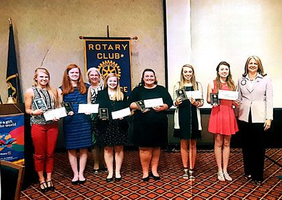 2016 Scholarship winners; L-R Olivia Niemi (Ryle High), Gabrielle Prather (Cooper High), Scholarship Committee Leader Barbara Rahn, Zoe Heimbrock (St. Henry High), Megan Cantrell (Boone County High), Bethany Vest (Conner High), Emily Wells (Walton Verona High), and Club President Pam Goetting.