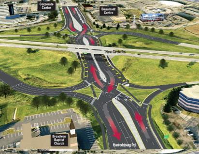 The Harrodsburg/New Circle Road double crossover diamond exchange