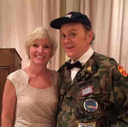 Sherry Ems, executive director of the USO of Central and Southern Ohio, and Bob Hope impersonator Bill Johnson.